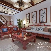胶南小区复式装修诺沙湾230平中式+美式风格