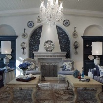 260平联排别墅蓝白条纹地中海风格衬托出罗马式的浪漫