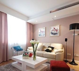 客厅先上,粉红的浪漫气息。