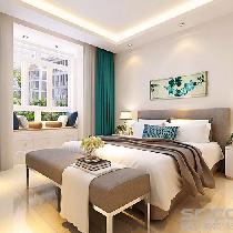 卧室装修效果图 空间简约,但色彩的搭配弥补了视觉上的单调。棚面的直线造型使整个空间的设计不单是对简约风格的遵循,也是个性的展示