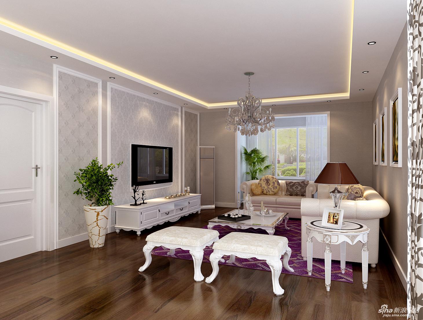 设计理念:整个客厅的空间大胆的运用了灰色基底的壁纸,加上电视墙运
