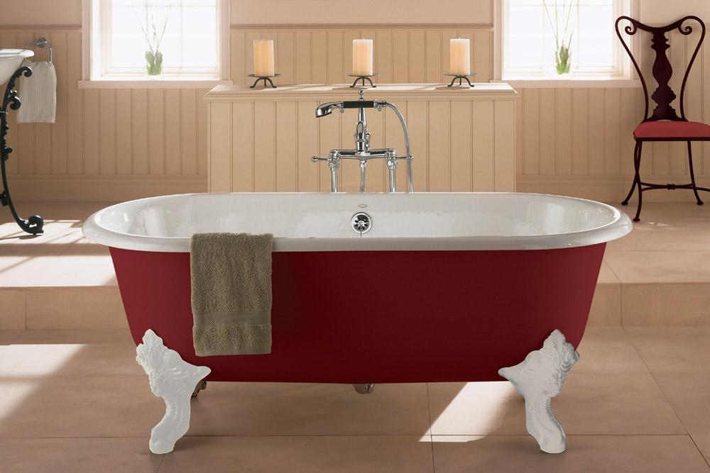 科勒歌莱独立式铸铁浴缸K-11195T-RF+K-11194-