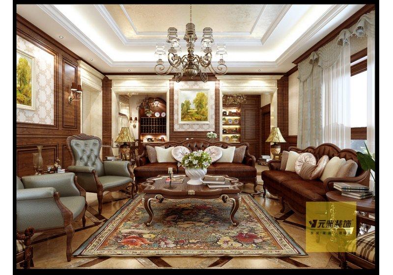 沙发后边通过大理石的双垭口处理,让空间功能相互独立且贯通,欧式的图片