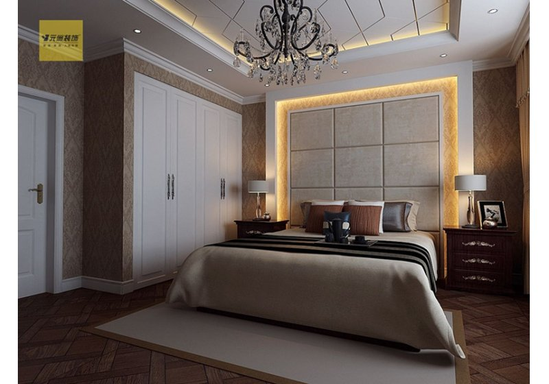主卧室的色彩上和其它空间差别不大图片