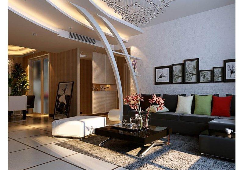 客厅及餐吊顶处用椭圆及流线的阶梯天花造型,与门厅弧形造型立柱相辅图片